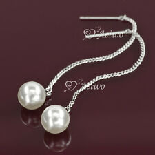 DROP EARRINGS 9K GF 9CT WHITE GOLD FILLED DANGLE PEARL LONG SIMPLE CLASSIC
