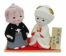 "Japanese 5.5""H Groom and Bride Wedding Hakata Clay Dolls Gift Set, Made in Japan"