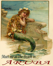 POSTER LITTLE MERMAID MEET AT THE BEACH IN ARUBA TRAVEL VINTAGE REPRO FREE S/H
