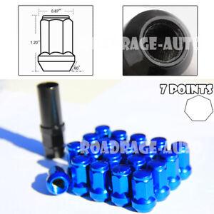 For Subaru Nissan Infiniti 12X1.25 Wheel Tuner Racing 7Pt Blue Lug Nut X20 + Key