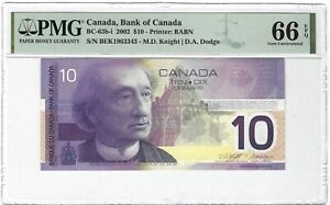 CANADA 10 Dollars 2001 / 2002, BC-63b-i Knight Dodge, PMG 66 EPQ Gem UNC, Scarce