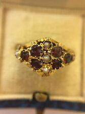 Victorian Antique Yellow Gold Hallmarked Garnet And Seed Pearl Scroll Ring