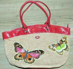 Woman's Large Oilily Butterfly Red Faux Croc Patent Leather Rattan Straw XL Bag