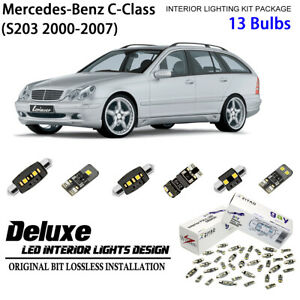 13 Bulb Deluxe LED Interior Dome Light Kit for S203 2000-2007 Benz C-Class Wagon