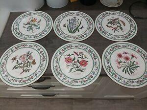 Vintage Portmeirion Round Table Mats - Set Of 6 BOTANIC GARDEN Pattern