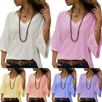 Womens Ladies Autumn Long Sleeve V Neck Sweater Casual Tops Blouse Loose Shirt