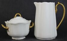 Vintage Porcelain Wedgwood White With Gold Handles Creamer And Lidded Sugar Bowl