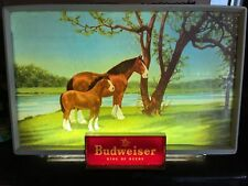 Vintage Illuminated Budweiser Sign Item#182  2 Momma And Baby Clydesdales W/ BOX