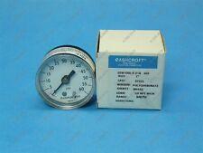 "Ashcroft 20W1005-H-01B-60# 2"" Pressure Gauge 60 PSI Back 1/8"" NPT New"