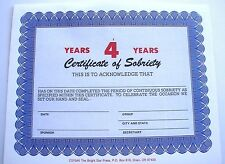 Alcoholics Anonymous Aa Certificate of Sobriety 4 Year Award Medallion Token