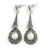 Vintage Inspired Marcasite Teardrop Crystal Drop Earrings In Aged Silver Tone (H