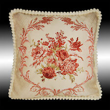 """RED FLORAL TAPESTRY SOFT VELVET THROW PILLOW CASE CUSHION COVER CHAIR PAD 19"""""""