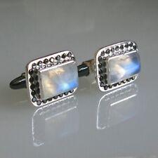 925 Solid Sterling Silver Natural Gemstone Moonstone Men Cufflink Fine Jewelry