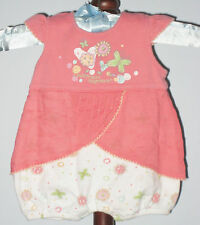 LEVI STRAUSS Size 0-3 Months Girls Pink Floral Body Double Bodysuit