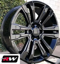 "Chevy Silverado OE Replica Wheels 2017 2018 GMC Denali 22"" inch Gloss Black Rims"