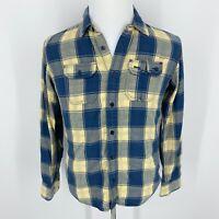 TOMMY HILFIGER DENIM Plaid Button Down Flip Contrast Cuff Yellow Blue Shirt