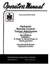 Farmall Hydraulic Remote H Super H M Operators Manual