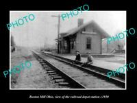OLD LARGE HISTORIC PHOTO OF BOSTON MILL OHIO, THE RAILROAD DEPOT STATION c1930