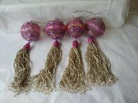 Ornamental Beaded Tassels Set Of 4 Purple & Silver