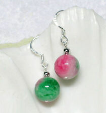 EPIC VAULT-10mm Natural Jade Green White Pink Multi-Color Round Silver Earrings