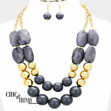 CLEARANCE SUPER CHUNKY PURPLE & GOLD BEADED FASHION NECKLACE JEWELRY SET CHIC