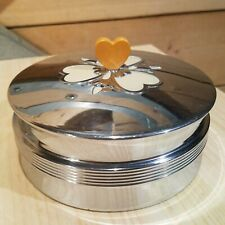 1930s Art Deco Chrome Glass Vanity Powder Box Clover Lid Chase USA - Swanky Barn