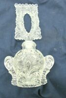 Vintage Ornate Pressed Glass Perfume Bottle Vanity Collectibles Floral Design