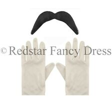ADULTS WHITE GLOVES & BLACK MOUSTACHE TASH SUPER MARIO LUIGI FANCY DRESS SET