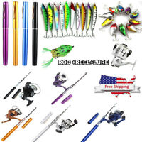 Mini Aluminum Portable Pen Shape Fishing Fish Rod Pole + Fish Reel + Fish Lures