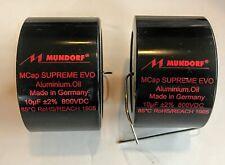 Pair Two Mundorf Mcap 800 Vdc Supreme Evo Alum Oil Capacitor 10uf 10.0 10 uf