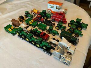ERTL Vintage Diecast Lot of 28 Farm Implements Tractors Trucks John Deere Bank