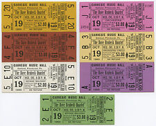 Dave Brubeck Quartet Original 1960 Unused Concert Ticket - Set of Seven (7)