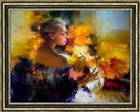 Hand-painted Original Oil Painting art Impressionism Flower girl on canvas