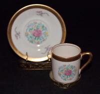 Concorde Fine China, USA, Pink Rose & Flowers, Demitasse Cup & Saucer Set