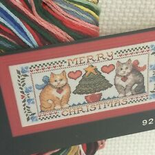 Christmas Cats 9242 Counted Cross Stitch Kit with Red Frame 7x13 Kitty Sealed