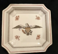 "Rare Numbered Eagle E Pluribus Unum Serving Plate Square 6 X 6"" Gold Trim"