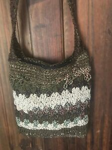 Handmade Crocheted Sling Bag, Cotton, with Zip Browns, Hippy Boho Gift Idea