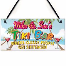 Personalised Tiki Bar Beach Cocktails Alcohol Hanging Plaque Friend Gift Sign
