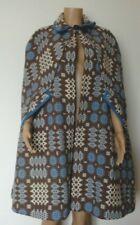 Vintage Welsh Tapestry wool 'Corgi' Cape cloak Blue white brown size M 10 12 14