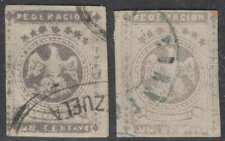 VENEZUELA 1863-64 EAGLES Sc 11 FORGERIES DARK GRAY & SLATE SHADES USED (CV$320)