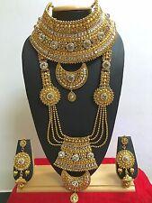 Indian Bollywood Ethnic Fashion Wedding Bridal Gold Plated 9 PCS Jewelry Set