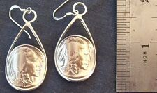 AWESOME STERLING SILVER 1936 BUFFALO NICKEL COIN  EARINGS.