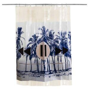 Room Essentials Vinyl Shower Curtain Blue Palm NWT