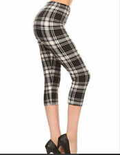 Buttery Super Soft One Size 2-14 High Waist OS CAPRI Leggings BLK PLAID STYLE31