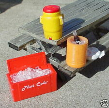 3 Miniature Coolers and Coca Cola Bottle on Ice 1/24 Scale G Scale Diorama Items