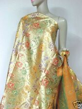 br200 embroidered golden floral Chinese brocade fabric material per meter 91cm w