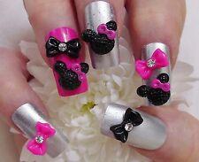3D Resin Nail Art Black & Pink *Mouse Ears & Rhinestone Bows* Nail Craft 10pcs