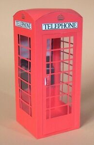 A4 Card Making Templates for 3D Opening Telephone Box & Display by Card Carousel