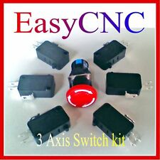 CNC 3Axis Micro Home Limit Switch Panic stop button Kit for Mill Router Lathe