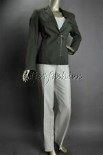 $1145 New PIAZZA SEMPIONE Dark Gray Olive Cotton Linen Jacket 46 12